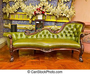 fauteuil cuir, vert, luxe