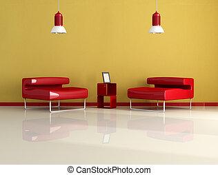 fauteuil, deux, rouges