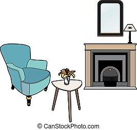 fauteuil, devant, cheminée