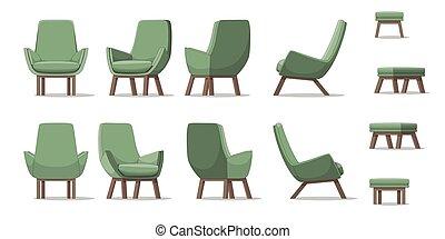 fauteuil, différent, perspectives, illustration