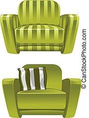 fauteuil, doux, vert, dépouillé