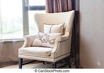 fauteuil, fin, fenêtre