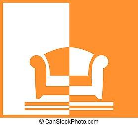 fauteuil, fond jaune