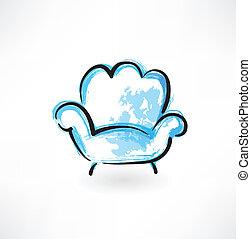 fauteuil, grunge, icône