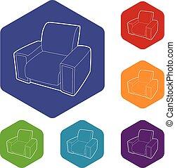 fauteuil, hexahedron, vecteur, icônes