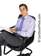 fauteuil, homme affaires