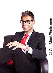 fauteuil, homme souriant, business, séance