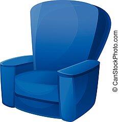 fauteuil, icône, bleu, style, dessin animé