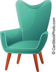 fauteuil, icône, style, dessin animé