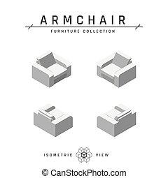 fauteuil, icônes, style, plat, ensemble, isométrique