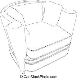fauteuil, illustration, 3d