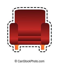 fauteuil, image, rouges, icône