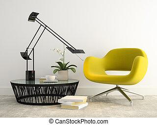 fauteuil, intérieur, partie, 3d, rendre, jaune, moderne, 2