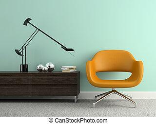 fauteuil, intérieur, partie, 3d, rendre, jaune, moderne