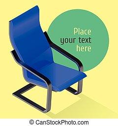 fauteuil, isométrique, vecteur, chaise, illustration.