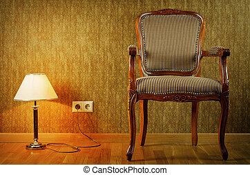 fauteuil, lampe
