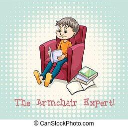 fauteuil, lecture, séance homme