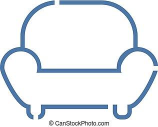 fauteuil, lignes, icône