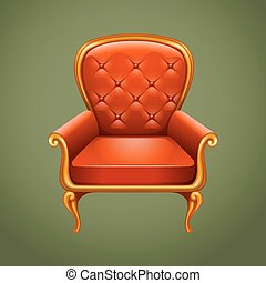 fauteuil, luxe, gris