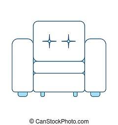 fauteuil, maison, icône