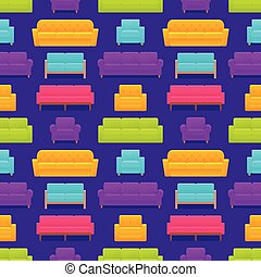 fauteuil, modèle, seamless, illustration, vecteur, sofa, couch.