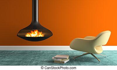 fauteuil, moderne, rendre, partie, intérieur, cheminée, 3d