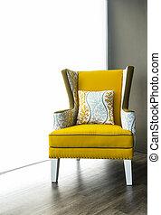 fauteuil, moderne, tissu, jaune