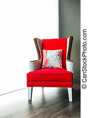 fauteuil, moderne, tissu, rouges
