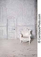 fauteuil, mur, vendange, door., retro, fond, intérieur