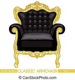 fauteuil, noir, jaune, o, classique