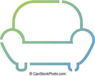 fauteuil, plat, lignes, icône