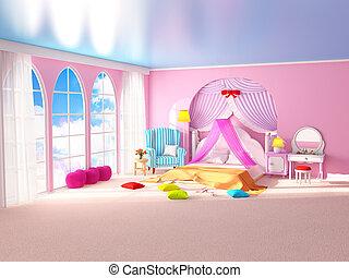fauteuil, princesse, salle