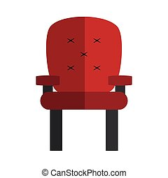fauteuil, rouges, icône