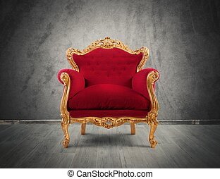 fauteuil, rouges, or, luxe