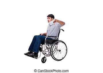 fauteuil roulant, blessure, souffrance, homme