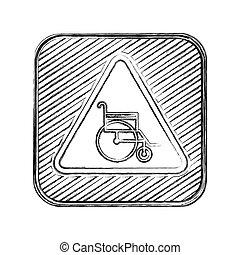 fauteuil roulant, brouillé, silhouette, panneaux signalisations