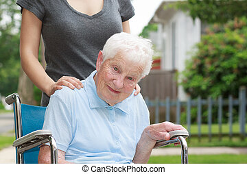 fauteuil roulant, caregiver, dame, personne agee, heureux