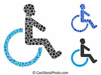fauteuil roulant, cercle, points, mosaïque, icône