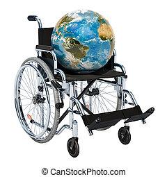fauteuil roulant, concept., global, incapacité, rendre, globe terre, 3d