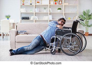 fauteuil roulant, concept, incapacité, jeune, étudiant