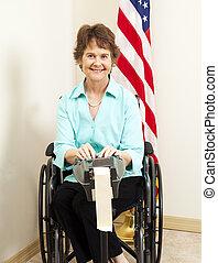 fauteuil roulant, courtisez journaliste