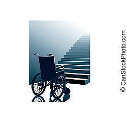 fauteuil roulant, et, escalier