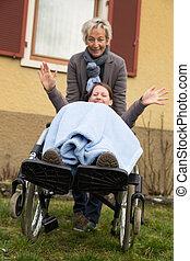 fauteuil roulant, femme, jeune
