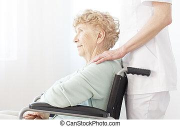 fauteuil roulant, femme, personnes agées, séance
