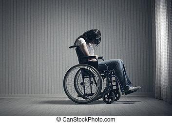 fauteuil roulant, femme pleure, séance