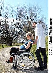 fauteuil roulant, femme, pregnant, docteur