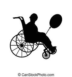fauteuil roulant, femme, silhouette, ou, homme