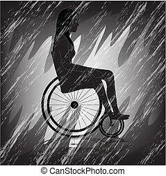 fauteuil roulant, femme, triste