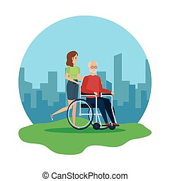 fauteuil roulant, femme, vieux, assistant, homme