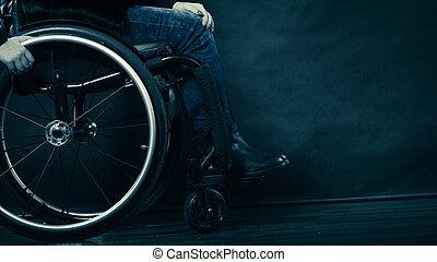 fauteuil roulant, fille femme, invalide, séance